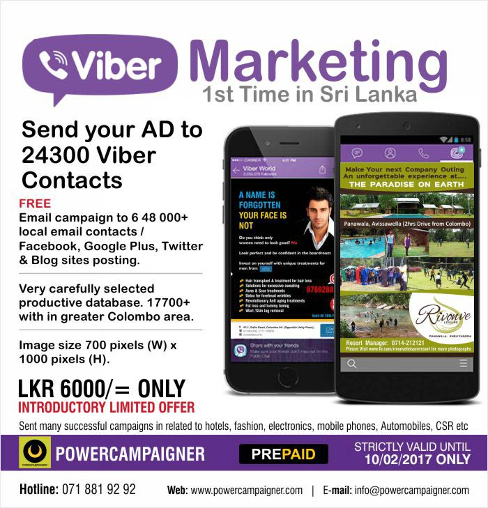 Email campaign to 6 48 000+ local email contacts / Facebook, Google Plus, Twitter & Blog sites posting.  Very carefully selected productive database. 17700+ with in greater Colombo area.  Image size 700 pixels (W) x 1000 pixels (H).  LKR 6000/= ONLY INTRODUCTORY LIMITED OFFER  Sent many successful campaigns in related to hotels, fashion, electronics, mobile phones, Automobiles, CSR etc  STRICTLY VALID UNTIL 10/02/2017 ONLY