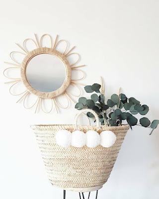 Trois petis pois panier pompons plage blanc déco décoration laine