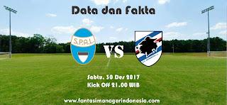 Data dan Fakta Liga Fantasia Sampdoria vs SPAL Fantasi Manager Indonesia