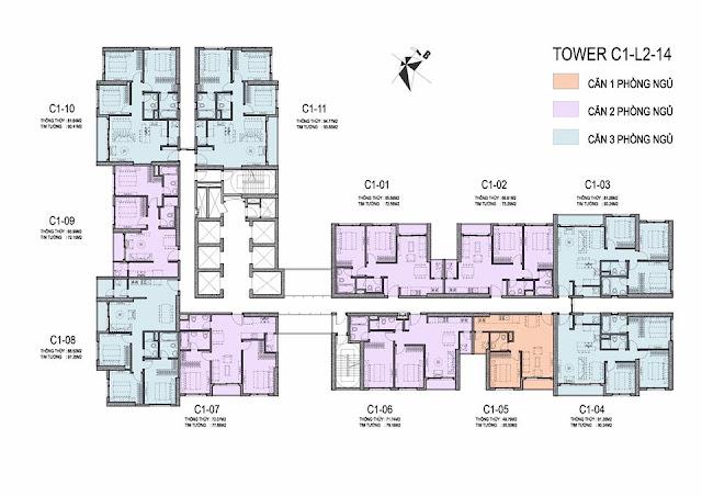 Thiết kế mặt bằng căn hộ dự án chung cư DCapitale Trần Duy Hưng
