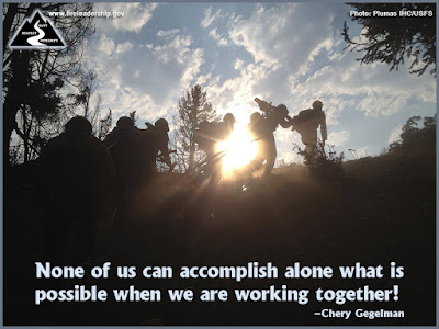 None of us can accomplish alone what is possible when we are working together! - Chery Gegelman  [Photo credit: Plumas IHC/USFS]