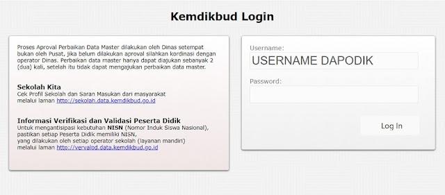 Gunakan username dan password yang terdaftar di dapodik
