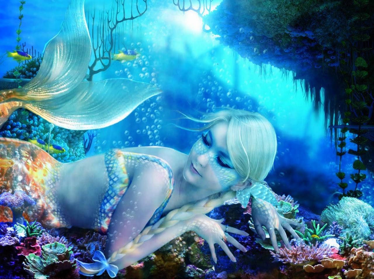 Real life mermaid girls photography with Photoshop ...