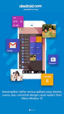 Tampilan pengenalan awal aplikasi computer launcher windows 10 untuk for android