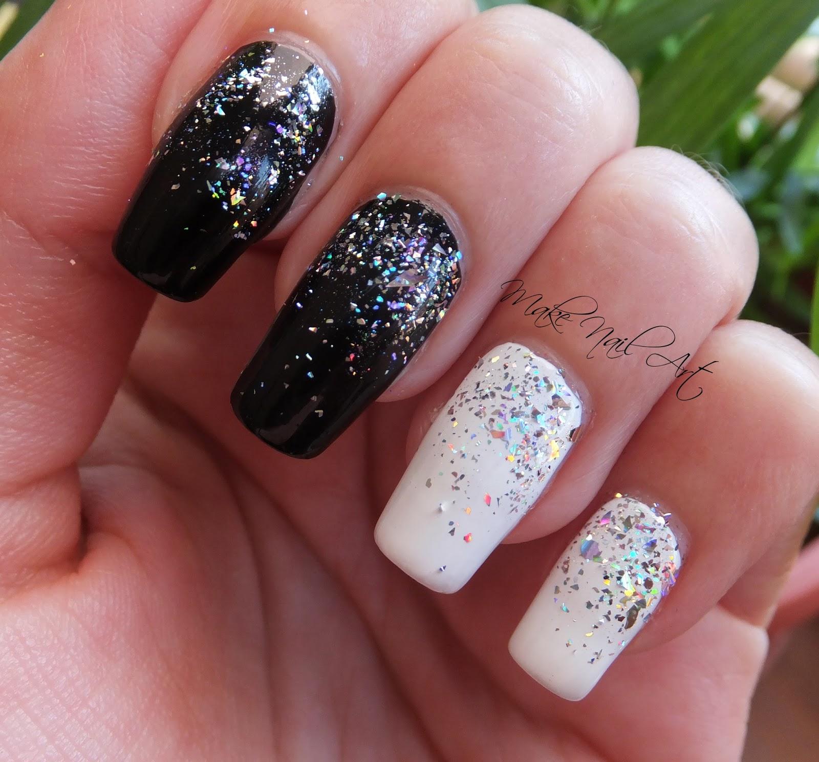 Glitch Holographic Waterfall Nail Art: Make Nail Art: Black And White Holographic Glitter