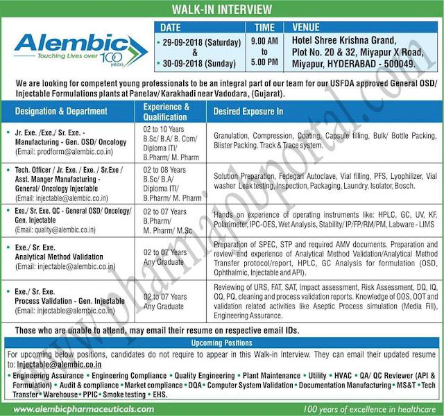 Alembic Pharmaceuticals - Walk-In Interviews For  M.Pharm, B.Pharm, B.Sc, Diploma, ITI at 29 & 30 Sep