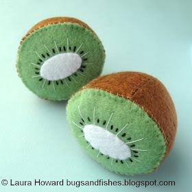 felt kiwi fruit halves