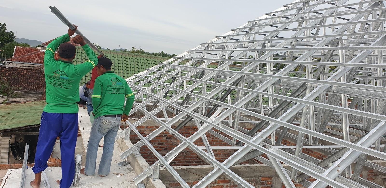 atap baja ringan nganjuk pemasangan rangka kencana truss
