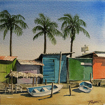 Mexican Blue Sheds - watercolor