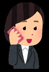 携帯電話で話す人のイラスト(女性会社員)