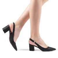 Pantofi de zi negri cu toc gros ieftini