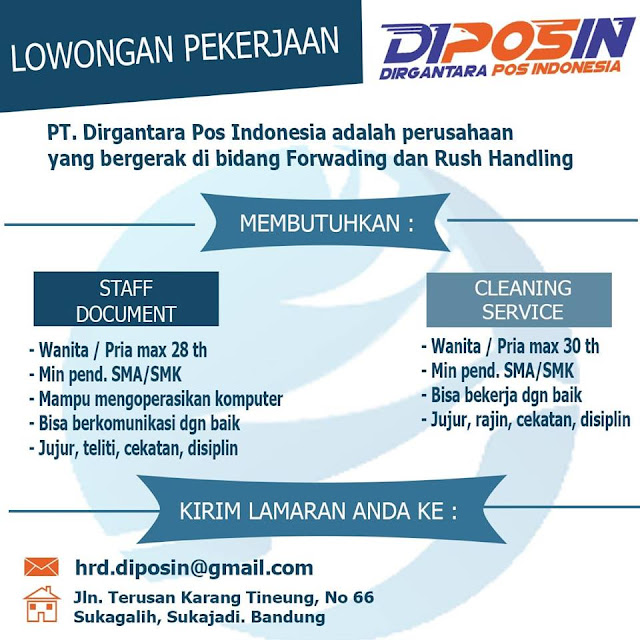 Loker PT. Dirgantara POS Indonesia