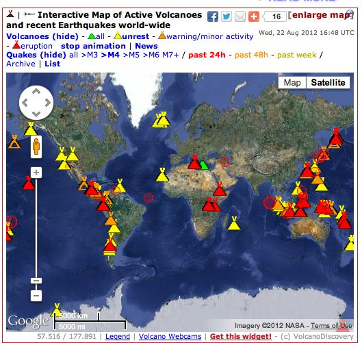 Interactive map of volcanoes earthquakes science fun interactive map of volcanoes earthquakes gumiabroncs Gallery