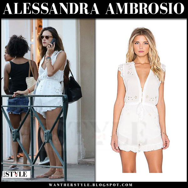 Alessandra Ambrosio in white embroidered romper spell and the gypsy collective what she wore