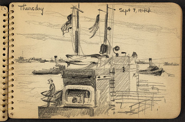 21-Year-Old WWII Soldier's Sketchbooks Show War Through The Eyes Of An Architect - Soldier On Board Landing Craft In Cherbourg Harbor, France