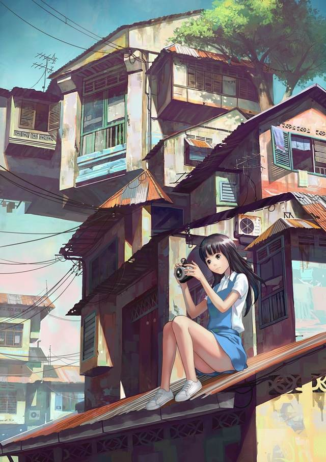 girl with camera on rooftop manga