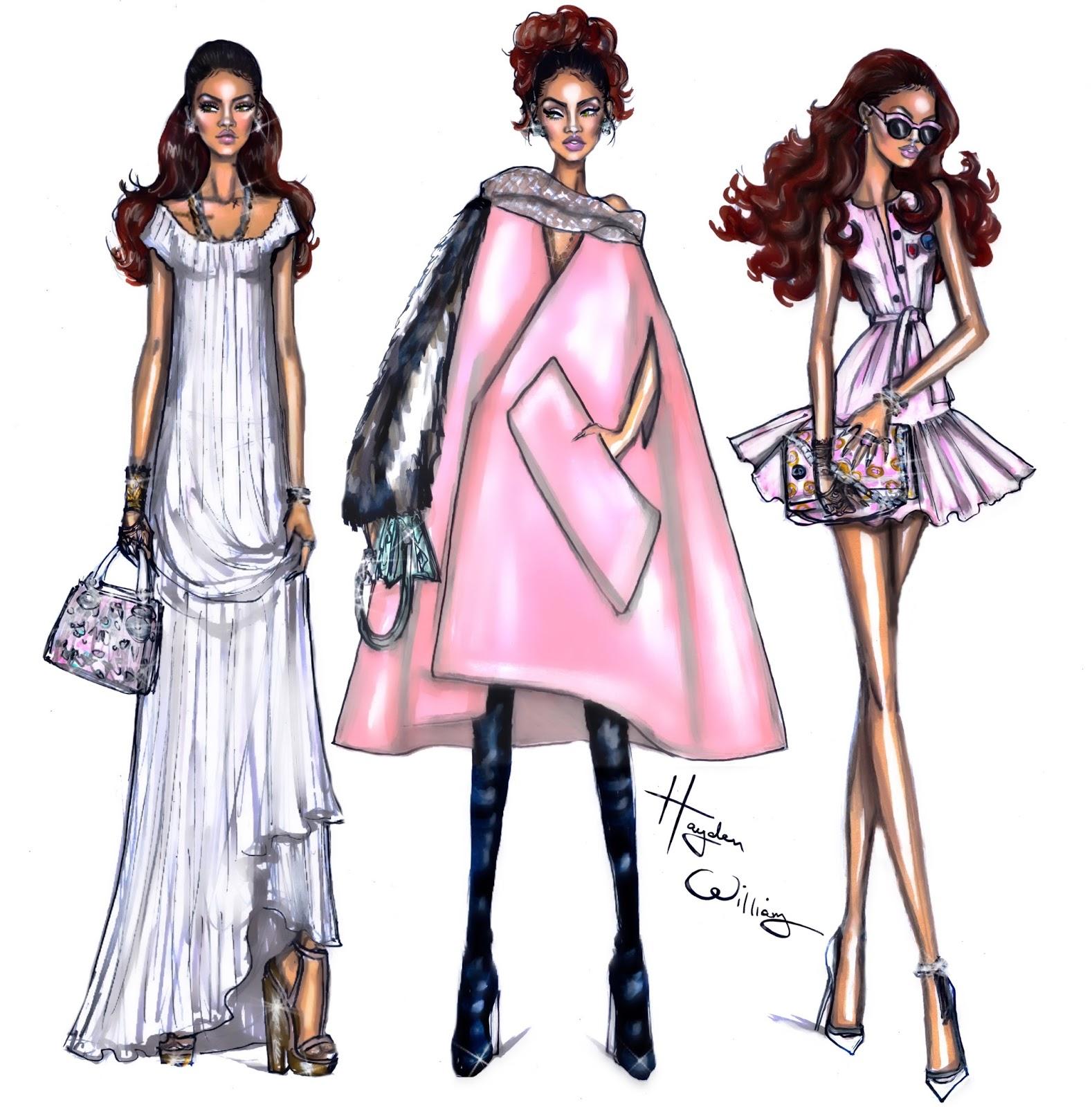 Hayden Williams Fashion Illustrations Rihanna Pfw Looks By Hayden Williams