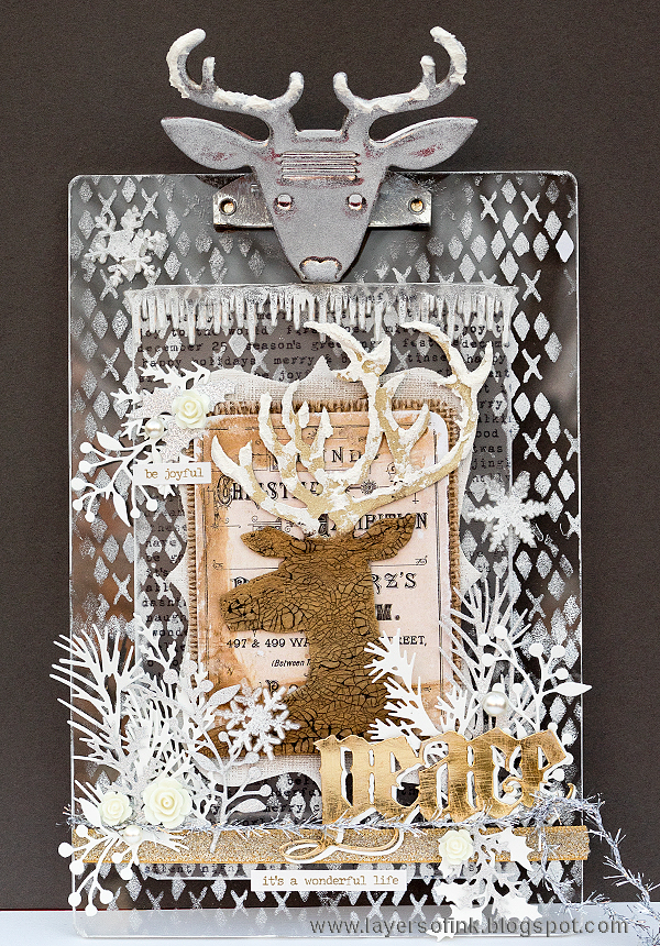 Layers of ink - Frosty Deer Clipboard Tutorial by Anna-Karin, with Sizzix dies by Tim Holtz.