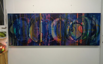 lines and shapes made with my eyes closed - oil on canvas, 25x62 inches