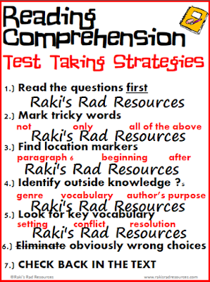 Free reading comprehension test taking strategies poster from Raki's Rad Resources.