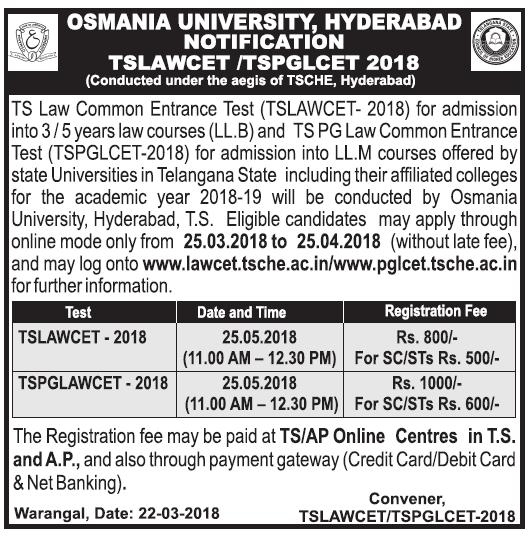 TS Lawcet/Pglcet 2018-2019 notification pdf, apply online, exam date