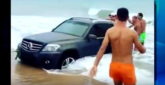 Mercedes ao mar - motorista esquece o freio de mão e leva prejuízo