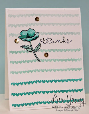 Stampin' Up! Birthday Blooms stamp set. Clean and simple thank you card. Ombre card. Handmade card by Lisa Young, Add Ink and Stamp