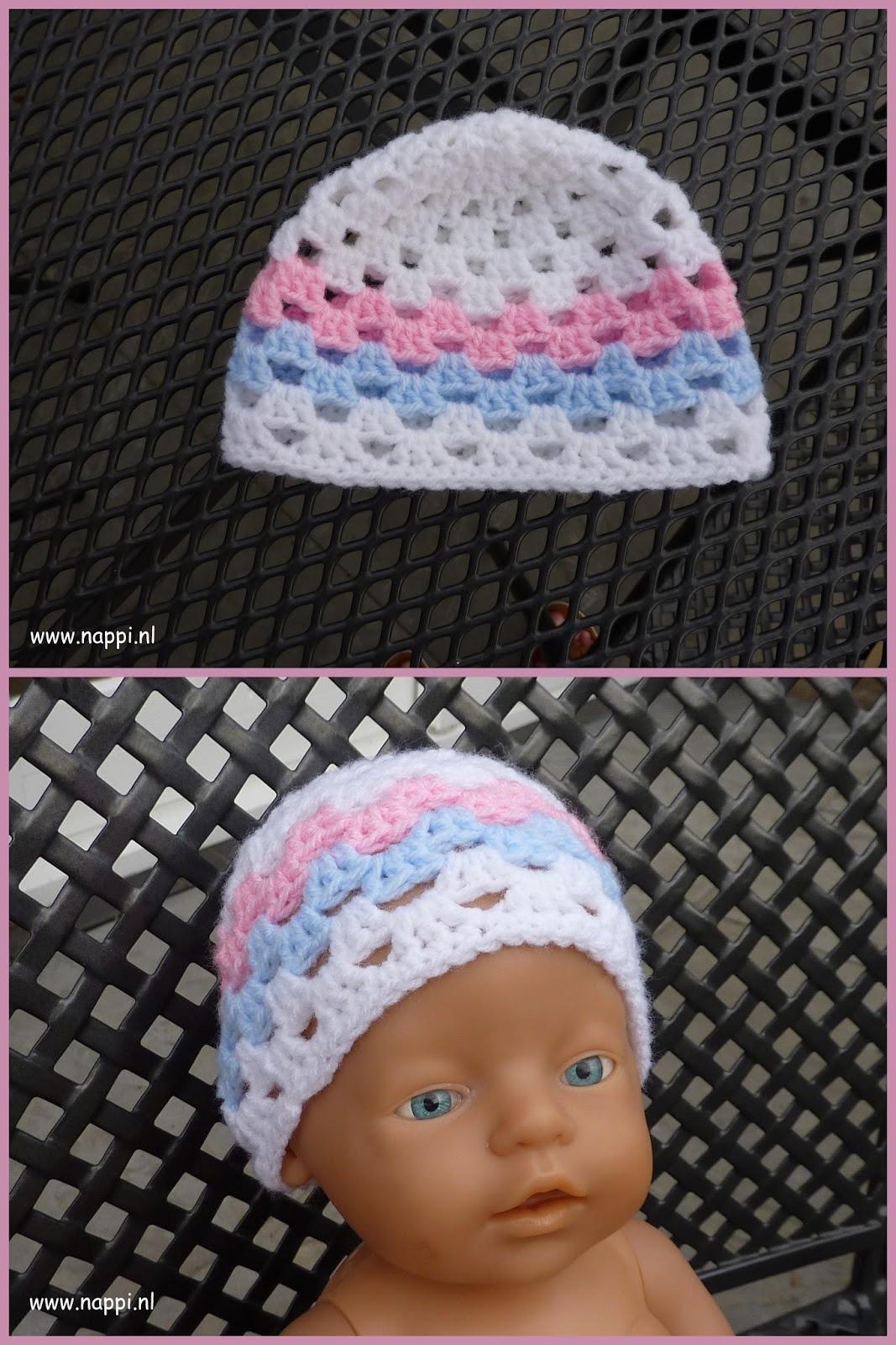Nappi Patroon Gehaakt Mutsje Granny Style Voor Baby Born