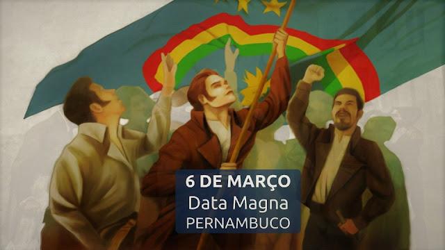 Revolução Pernambucana - Ilustração pessoas da época balançando bandeira de Pernambuco