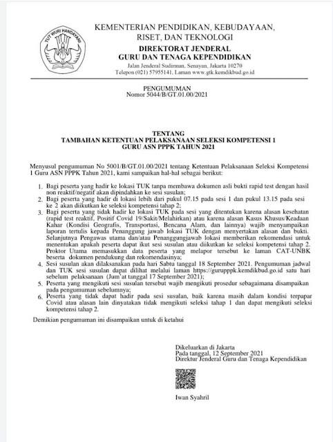 Tambahan Ketentuan Pelaksanaan Seleksi Kompetensi I Guru ASN P3K Tahun 2021. Info PPPK Hari ini, Informasi PPPK Terbaru hari ini
