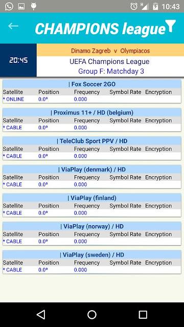 تطبيق لتعرف على القنوات و الترددات للقنوات الناقلة لأهم المباريات