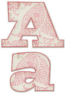 Abecedario con Decoración en Rojo. Red  Decorated Alphabet.