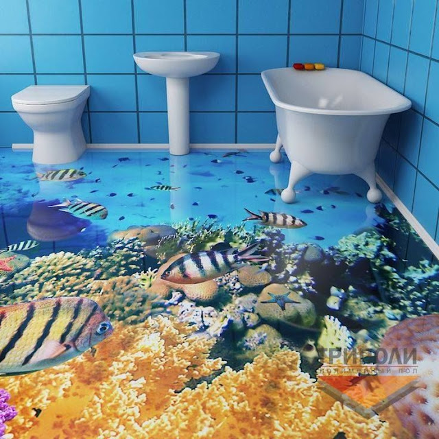 charming 3D bathroom floor like deep sea