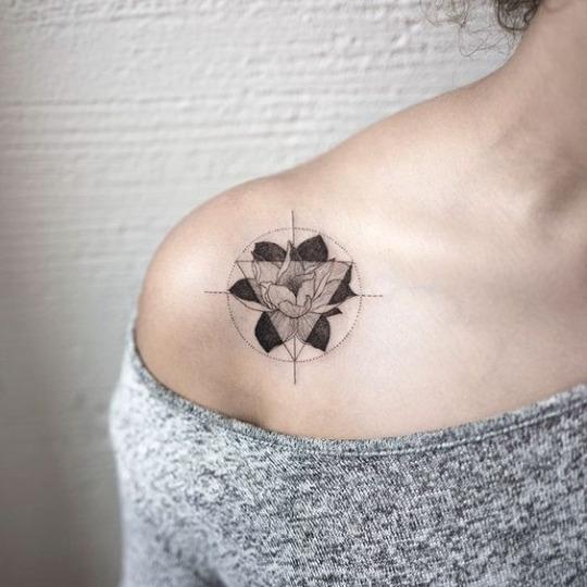 Floral Compass Tattoo