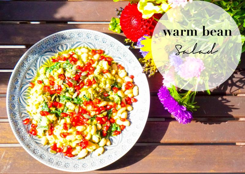 Warm Bean Salad with Pesto and Pomegranate {Deliciously Ella - Für jeden Tag} warmer Bohnensalat mit Pesto, Kürbis- und Granatapfelkernen auf Butlers Teller Sumatra in grau