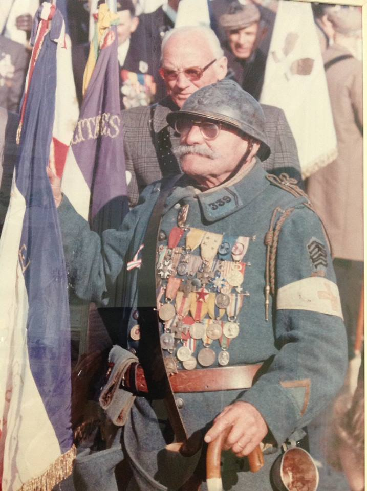 French WWI Veteran Pierre Recobre (1889-1983) at a ceremony in the early 1980's