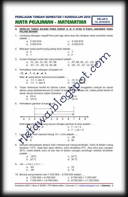 Uts Matematika Kelas 6 Semester 1 : matematika, kelas, semester, Download, Matematika, Kelas, SD/MI, Kurikulum, Semester, Terbaru