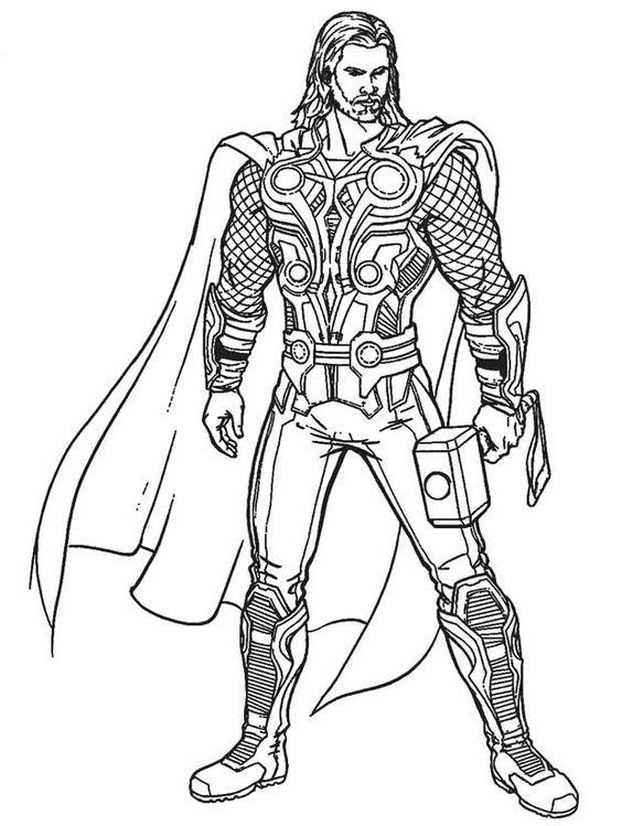Tranh tô màu Thor thần sấm Biệt Đội Siêu Anh Hùng