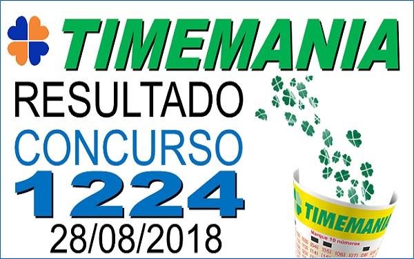 Resultado da Timemania concurso 1224 (28/08/2018) ACUMULOU!!! (Imagem: Informe Notícias)