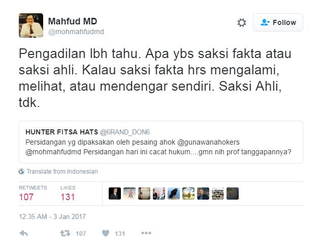 Bully Saksi Ahli Kasus Ahok Dengan #SaksiGaLihat, Musisi Addie MS Kena Skakmat Prof Mahfud MD