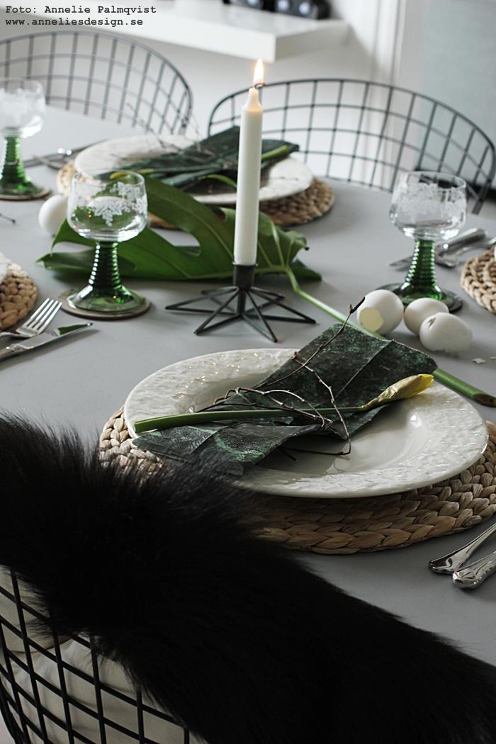 påsken 2016, påskdukning, påskdukningar, bordsdukning, grönt, påsklunch, vitt, gult, marmor, marmor underlägg, glasunderlägg, webbutik, webbutiker, webshop, annelies design, inredning, påskpynt, påskdekorationer, monstera kvist, björkris, björkriset, tips, servetter marmor, getskinn, fällar,