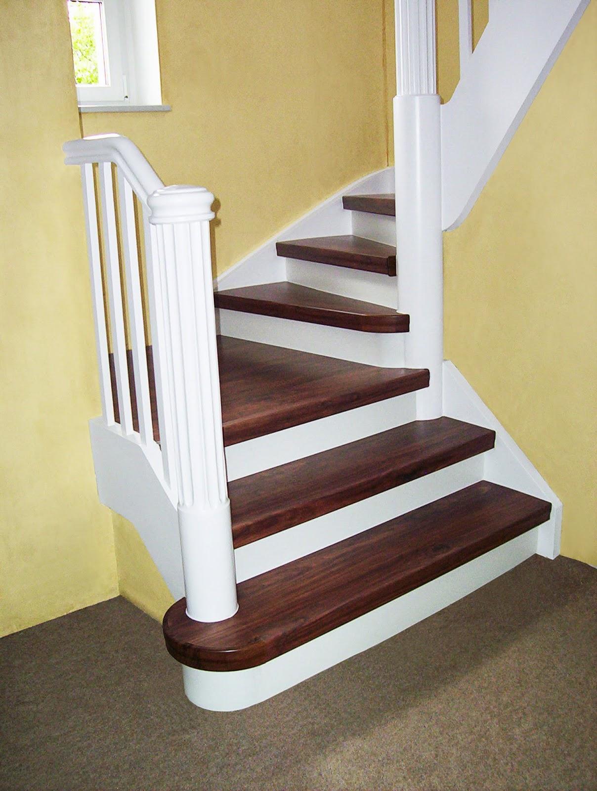 Treppenrenovierung - Treppensystem Rundkante Dekor Walnus / weiß