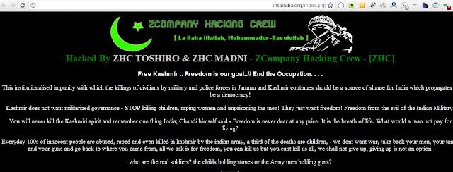 ZCompany Pakistani Hackers deface big Indian Websites