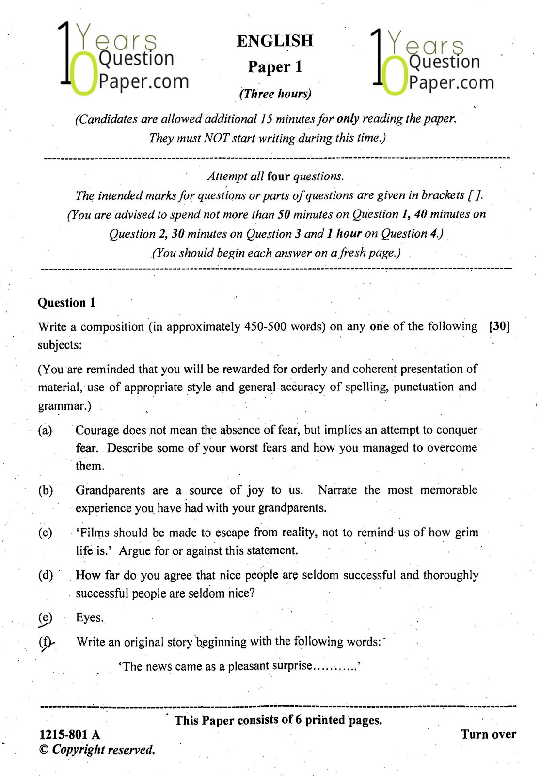 Isc English Paper 1 Class 12 Board Question Paper