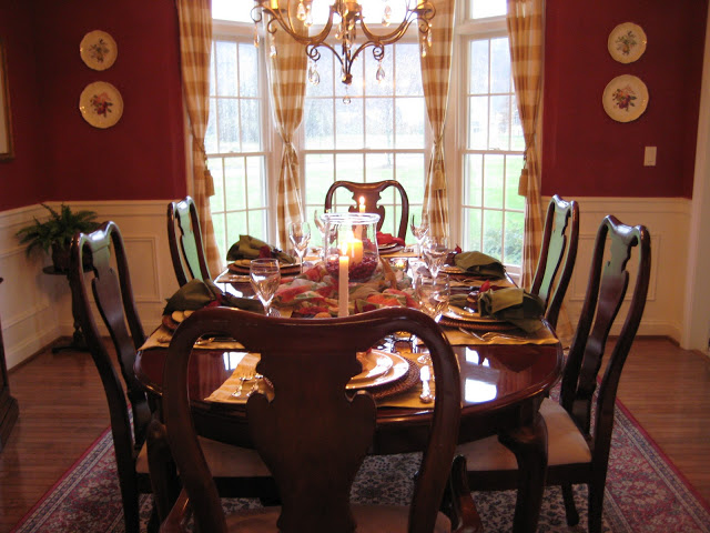 Red Dining Room and Holiday Table