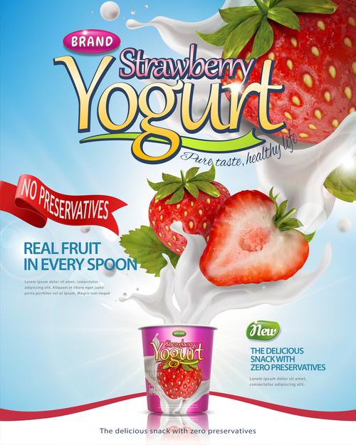 Strawberry yogurt advertising poster template free vector