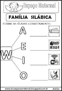 Família silábica alfabetização letra W
