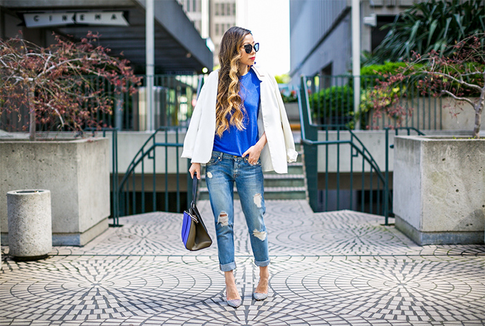 Banana republic spring essential, prada sunglasses, banana republic silk cashmere pullover, 7fam boyfriend jeans, celine edge bag, alice olivia pumps, baublebar earrings, spring outfit ideas, san francisco fashion blog, san francisco street style