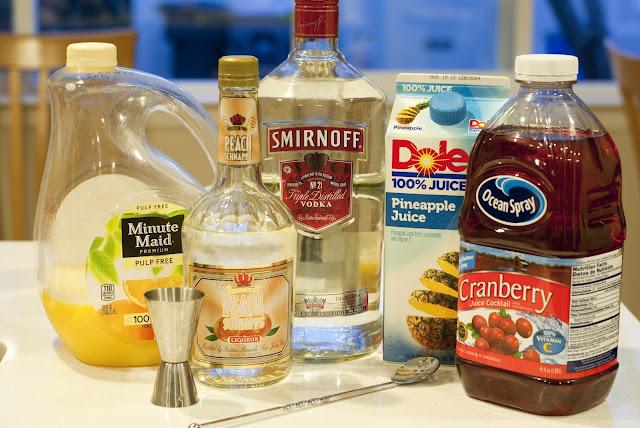 Sex on the beach cocktail, vodka, peach schnapps, cranberry juice, orange juice, pineapple juice