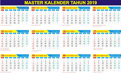 Kalender 2019 Masehi / 1440 Hijriyah Indonesia Lengkap - Download Gratis File CorelDraw